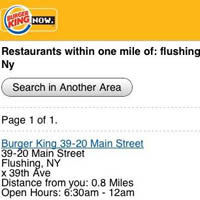 Restaurant locator - Burger King enters mobile commerce full-throttle