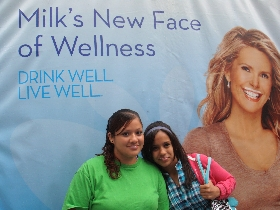 The Hispanic got milk? Campaign - New faces of Wellness... The Ugarte sisters rock milk mustaches after tasting delicious milk from local processors. Older sister, Katherine, sets the example for her younger sister, Stephanie, to drink 3 glasses of low fat or fat free milk a day, as it helps build strong bones and achieve overall wellness.
