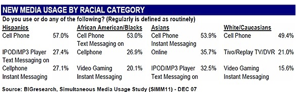 New Media Usage by Racial Category