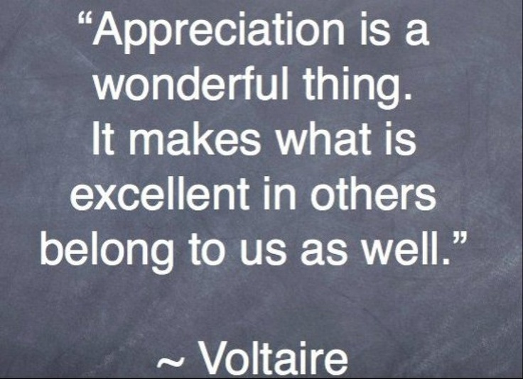 Appreciation is a wonderful thing. It makes what is excellent in others belong to us as well. - Voltaire