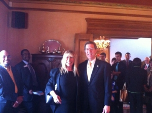 At the Governor's Mansion Claudia Goffan with Gov. Sam Brownback after Hispanic Day on the Hill