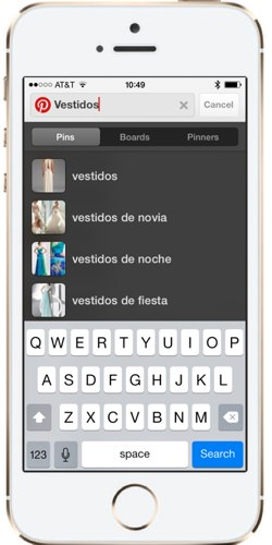 Pinterest Guided Search can also be performed in Spanish!