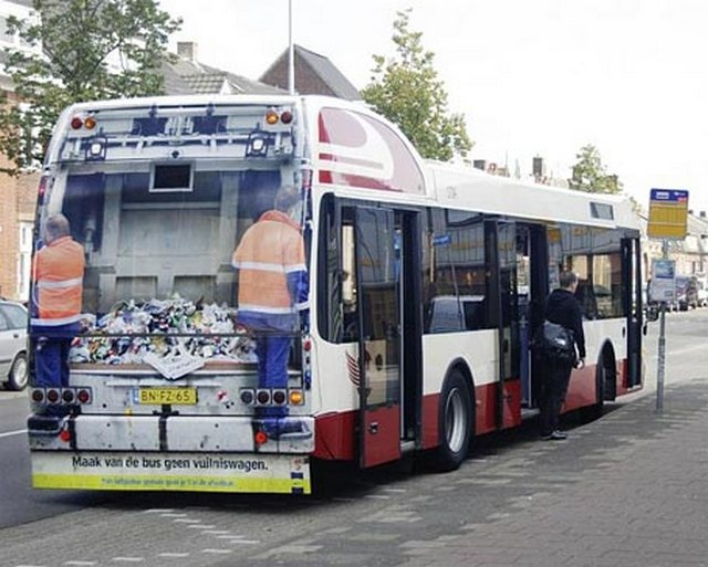 "Keep Holland Clean bus advertisement ""Don't turn the bus into a garbage truck."" It's just as easy to throw your trash in the waste bin. By Grey Amsterdam."