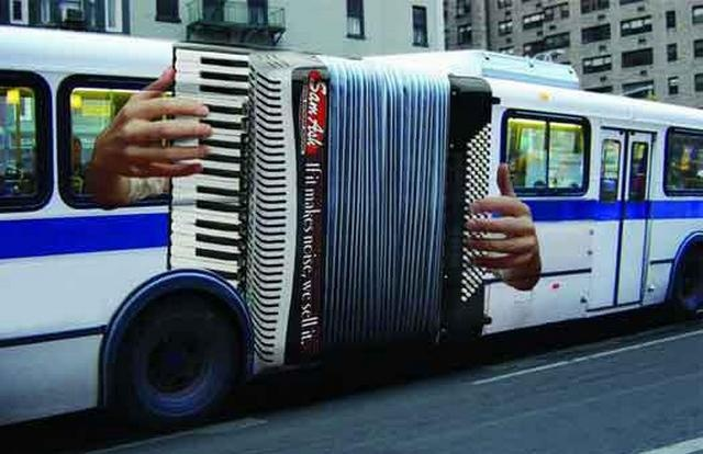 Sam Ash has put an interesting spin on the MTA's articulated buses with this outstanding example of bus advertising.