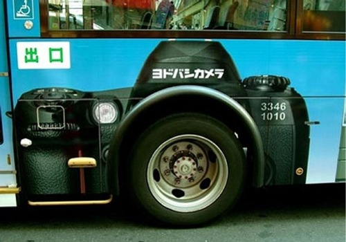 Super creative bus advertisement for Yodobashi camera store. Yodobashi is a large (if not the largest) camera store chain in Japan.