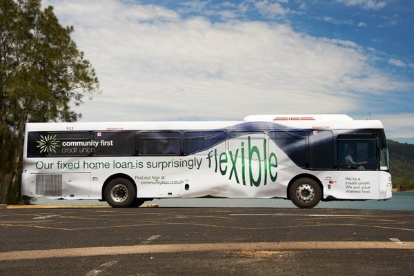Bus advertising examples from down under: Community first credit union because finances are also creative. Agency: I.D.E.A.S. 2011 Australia
