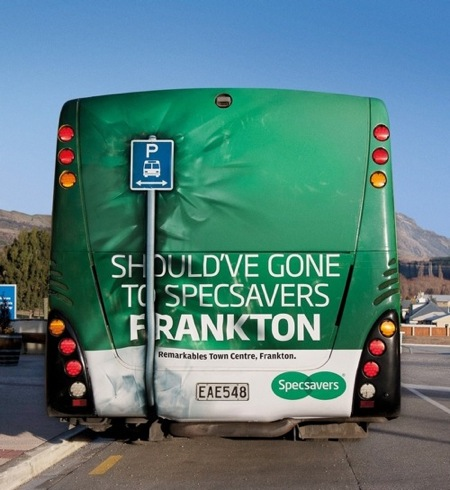 "Specsavers in New Zealand ran an advertising campaign promoting Specsavers Frankton on the back of what appears to be an Intercity bus. Parked at Frankton Airport, near Queenstown, the bus appears to have backed into a bus stop sign. ""Should have gone to Specsavers Frankton""."