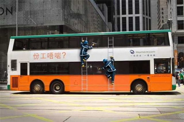 "Monster.com ""Wrong job"" bus advertising campaign by JWT Hong Kong for the China market. ""Stuck in the wrong job?"" the tagline reads."