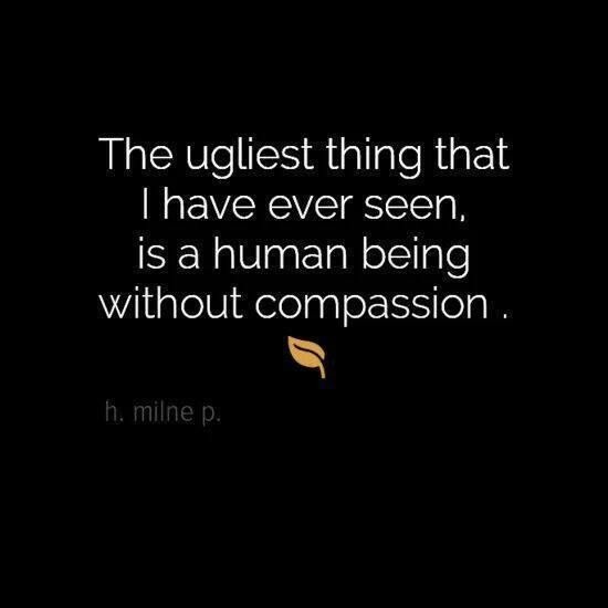 The ugliest thing that I have seen is a human being without compassion - life quotes