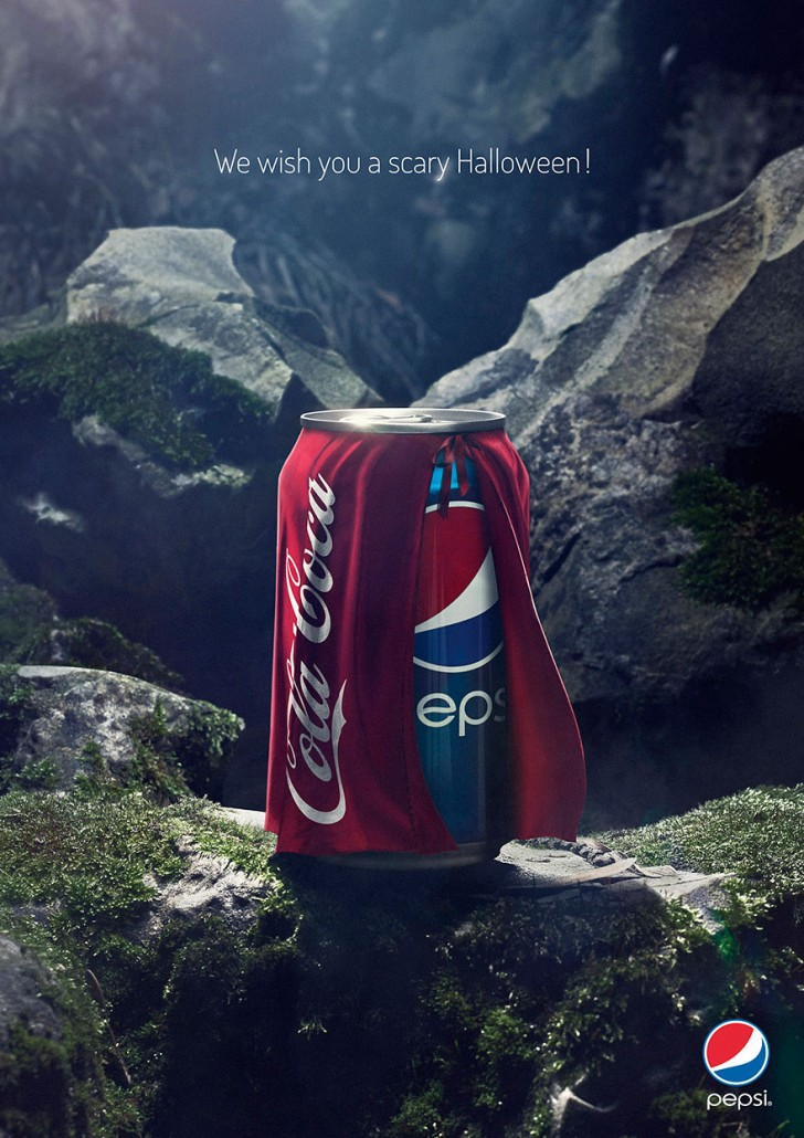 What's scarier that a Pepsi with a Coke costume? Pepsi halloween ads