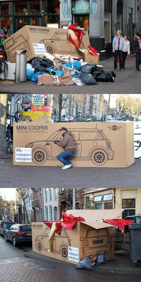Clever guerilla marketing ads Campaign | Empty packaging was left on the street in Amsterdam after Christmas to make it look like someone had received boxed and wrapped MINI.