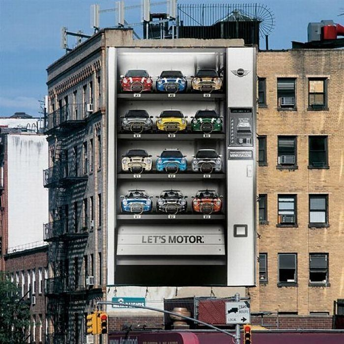 Real building turned into a giant MINI Cooper vending machine | Guerilla marketing ads