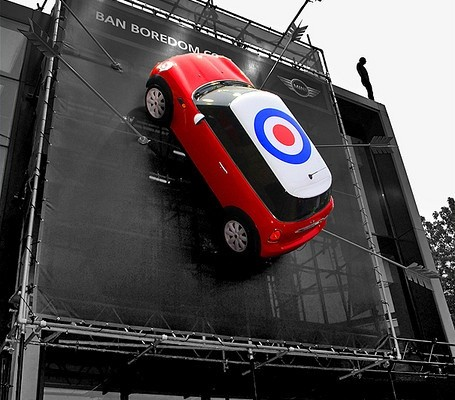 Roundhouse Mini Cooper London guerilla marketing ads