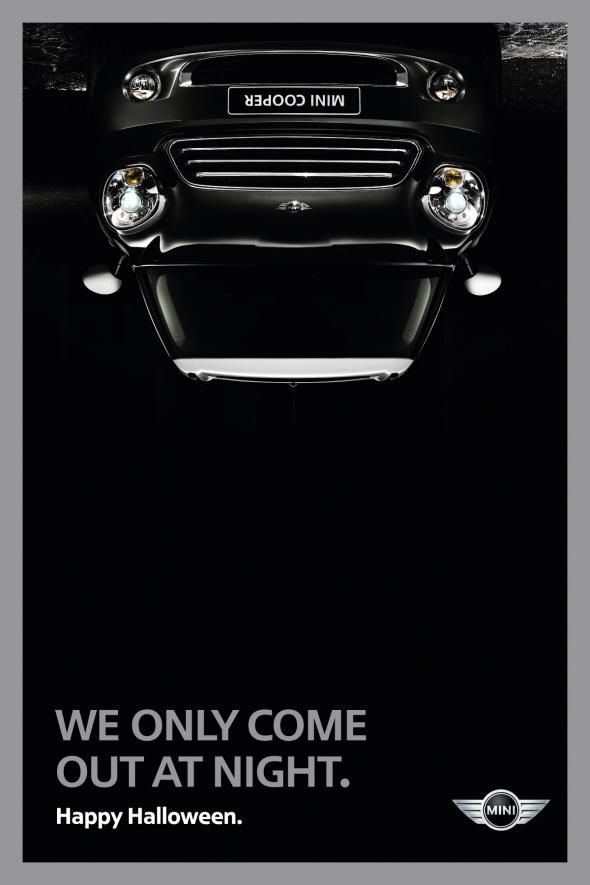 "Halloween Mini Cooper advert ""We only come out at night."""