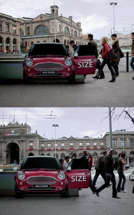 This is not a Mini it's a Subway entrance! Add people climbing in and out suggests the space in a Mini! | 9 MINI Cooper ambient and guerilla marketing ads