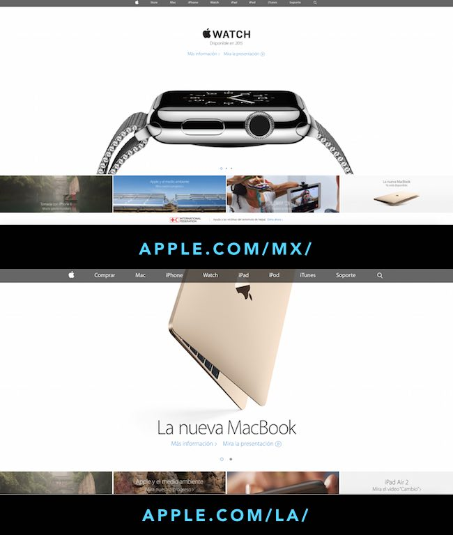 Apple Latin America website language region targeting and Mexico country targeting example