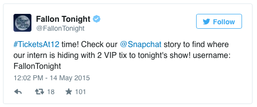 The Tonight Show With Jimmy Fallon ticket giveaway is a great Snapchat marketing idea